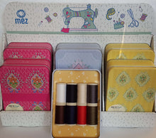 Load image into Gallery viewer, Boho chic edition tin of 8 quality threads. re-usable Sewing Tin. Excellent gift.