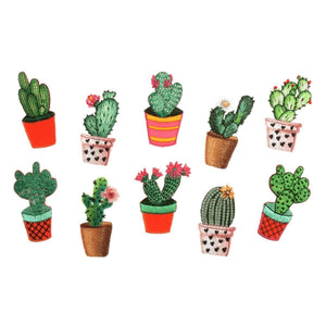 Cactus embellishment: 4cm Sew-On Or Iron-On appliqué patch. Polyester Motifs. Choice of 10