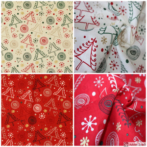 Swirly Metallic Christmas craft/quilting cotton fabric. Red or cream. By the half metre.