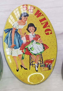 Vintage tin for small crafts and sewing storage. Great stocking filler or sewing gift.