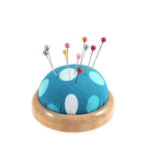 Funky Polkadot Pin Cushion with wooden base. Pincushion sewing or craft gift. Stocking filler.