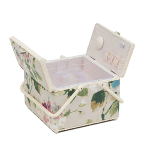 Vintage Floral Large Sewing Box (26 x 26 x 18 cm). With pincushion and lift out compartment.