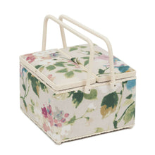 Load image into Gallery viewer, Vintage Floral Large Sewing Box (26 x 26 x 18 cm). With pincushion and lift out compartment.