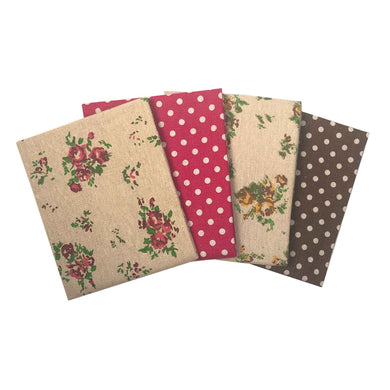 Linen rayon mix floral, hearts, spotted red natural fabrics fat quarter bundle of 4 fabrics. Crafts, patchwork.