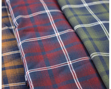 Load image into Gallery viewer, Tartan/Plaid Brushed Polycotton: Forest and Red fabric. By the half metre.