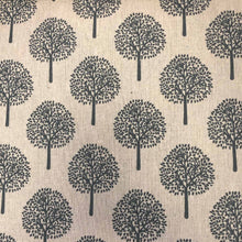 Load image into Gallery viewer, Trees Cream/Grey Rayon Linen Mix fabric. By the half metre. Multipurpose fabric: quilting, crafts.