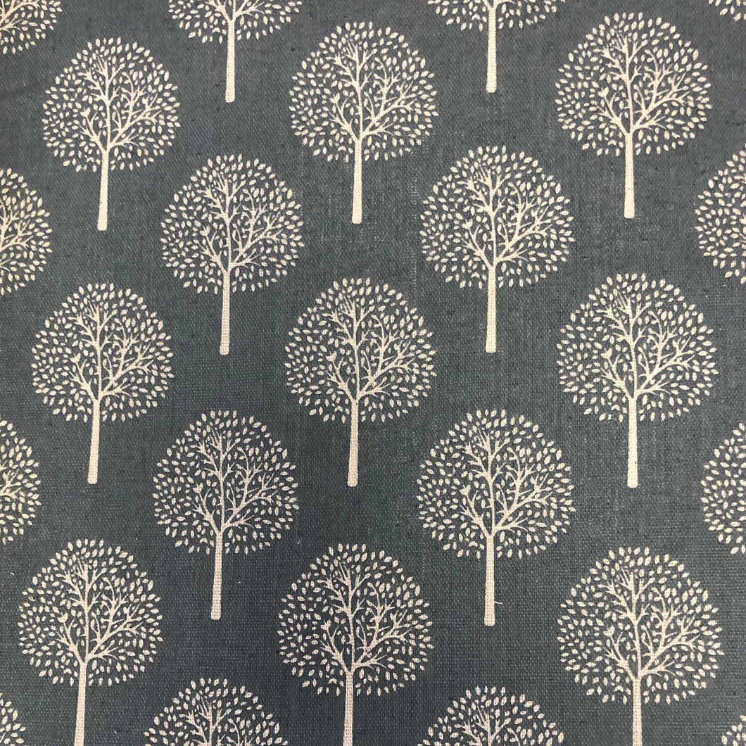Trees Cream/Grey Rayon Linen Mix fabric. By the half metre. Multipurpose fabric: quilting, crafts.