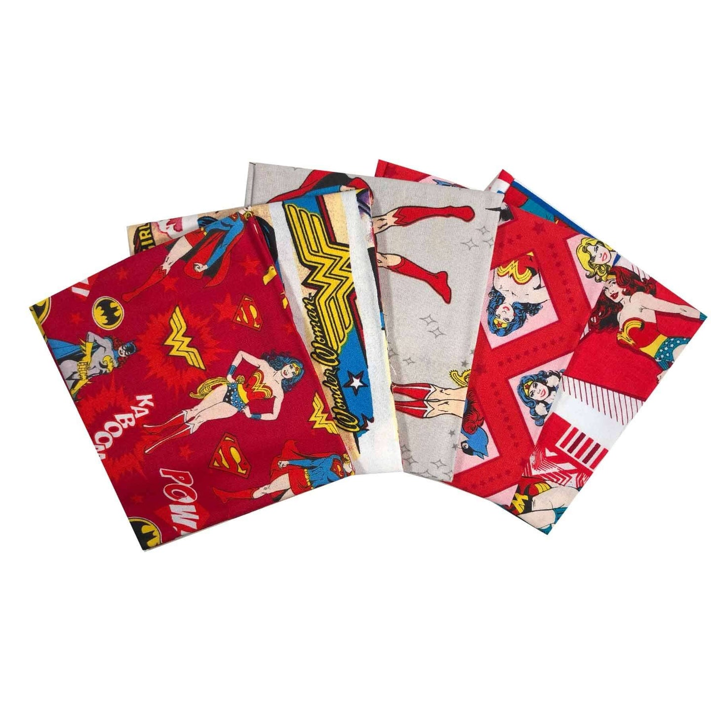 DC Heroines: wonder woman and Batman girls boys kids Superhero bundle of 5 fat quarters. Quilting cotton kids fabrics.