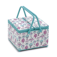 "Load image into Gallery viewer, Large Sewing Box Basket ""Hotair Balloon"" (26 x 26 x 18 cm). With pincushion and lift out compartment."