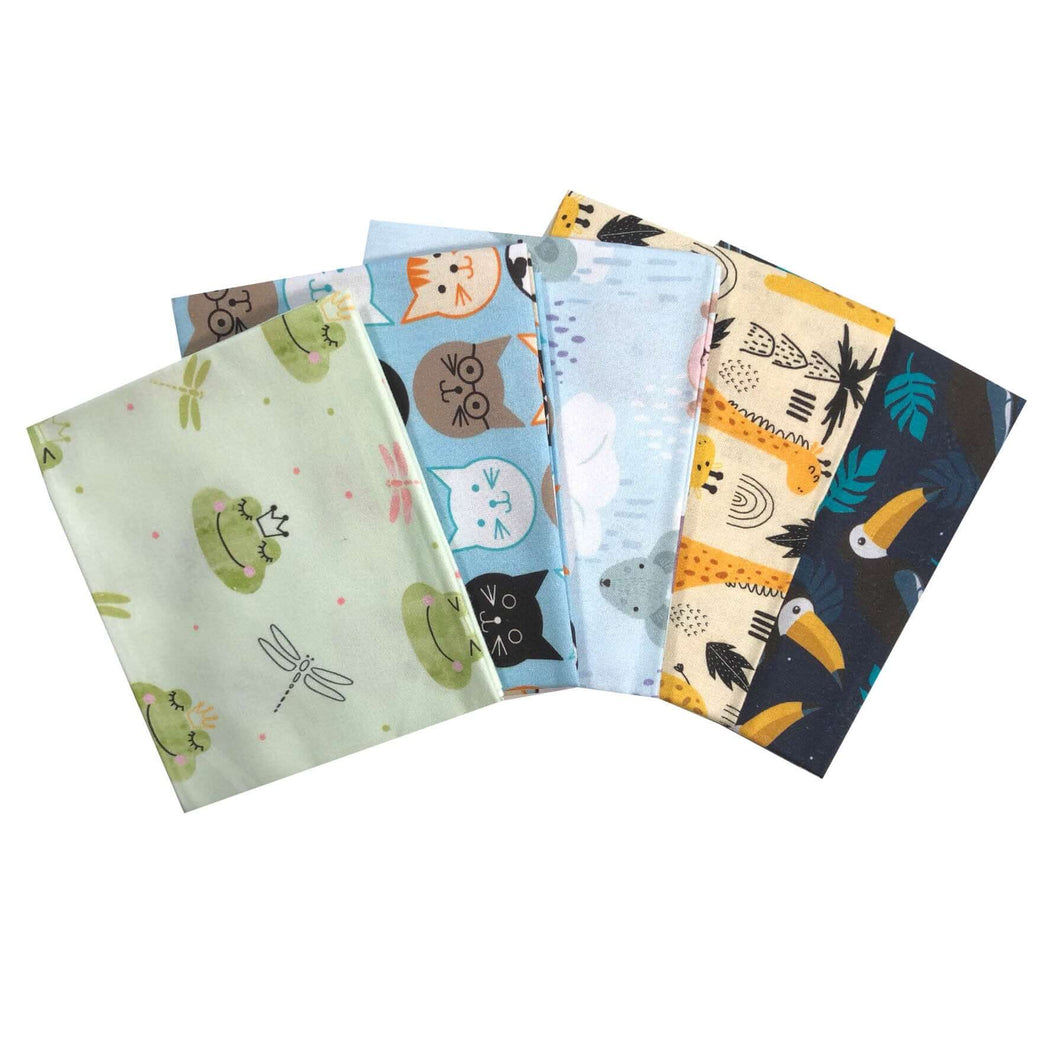 Animals Delight 5 x fat quarter bundle craft cotton fabric. Fun animal kids quilting fabric. Craft Cotton Company.