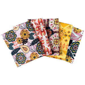 Tropical Bohemian 5 x fat quarter bundle craft cotton fabric. Floral yellow, pink quilting fabric. Craft Cotton Company.