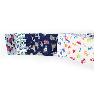 "Vehicles Fabric Roll /Jelly Roll. 20 piece fabric roll 2.5 x 42"". Quilting, crafts. Patchwork fabric."