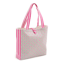 Load image into Gallery viewer, Stars & Stripes Shoulder Craft Tote Bag. Sewing/craft organisation, shopping bag or sewing gift. Hot pink and natural canvas look.