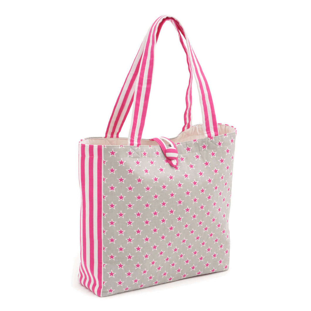 Stars & Stripes Shoulder Craft Tote Bag. Sewing/craft organisation, shopping bag or sewing gift. Hot pink and natural canvas look.