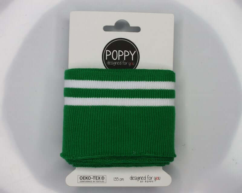 Double Stripe Cuffing By Poppy. OEKO-TEX cotton Knit Fabric: green, pink, yellow, coral. For cuffs and waistbands.