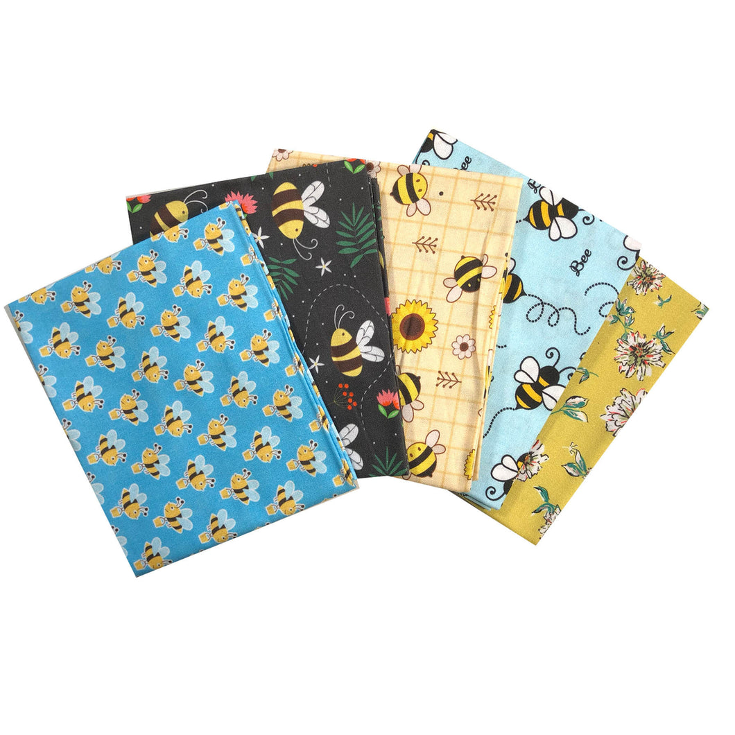 So Buzzy Bees 5 x fat quarter bundle craft cotton fabric. Yellow, blue quilting fabric. Craft Cotton Company.