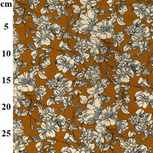 Load image into Gallery viewer, Mustard Yellow Floral Drapey Viscose Challis Floral dress fabric. By the half metre.