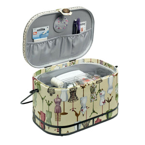 Vintage Dress Form Large Sewing  Box Basket by Prym: 30 x 20.5 x 19 cm. With pincushion and lift out compartment.