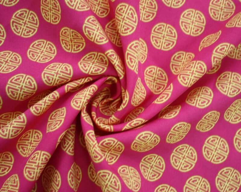Chinese 'Lu' Prosperity Symbol Bi-Stretch Dress Fabric. By the metre. Cerise pink and charcoal grey.