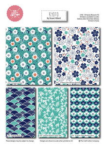 Kyoto Blossom entire range by the fat quarter. Stuart Hillard. Blues, greens, floral, Japanese inspired.