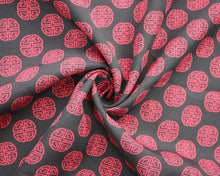Load image into Gallery viewer, Chinese 'Lu' Prosperity Symbol Bi-Stretch Dress Fabric. By the metre. Cerise pink and charcoal grey.