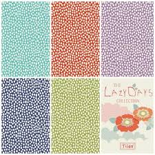 Lazy Days Trickles by the Fat quarter - coral, teal, lilac, blue, green; fabric by Tilda.