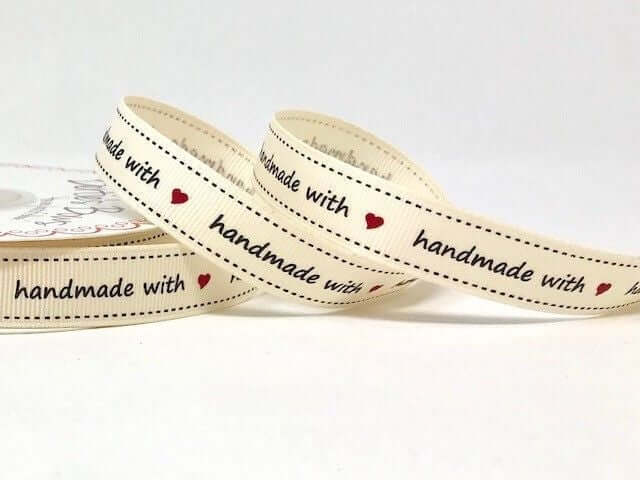 Handmade/made with Love /Union Jack 16mm grosgrain ribbon by Bertie's Bows. 3m reel.