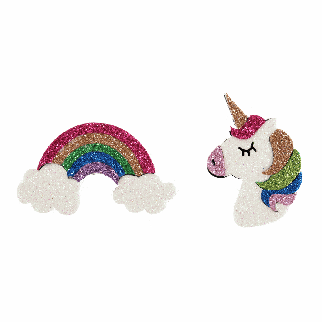 Rainbow and unicorn stick-on glitter embellishments. Crafts, pack of 2.