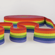 Load image into Gallery viewer, Striped Rainbow Webbing, belt, bag strapping 40 mm. Heavyweight. By the Metre.