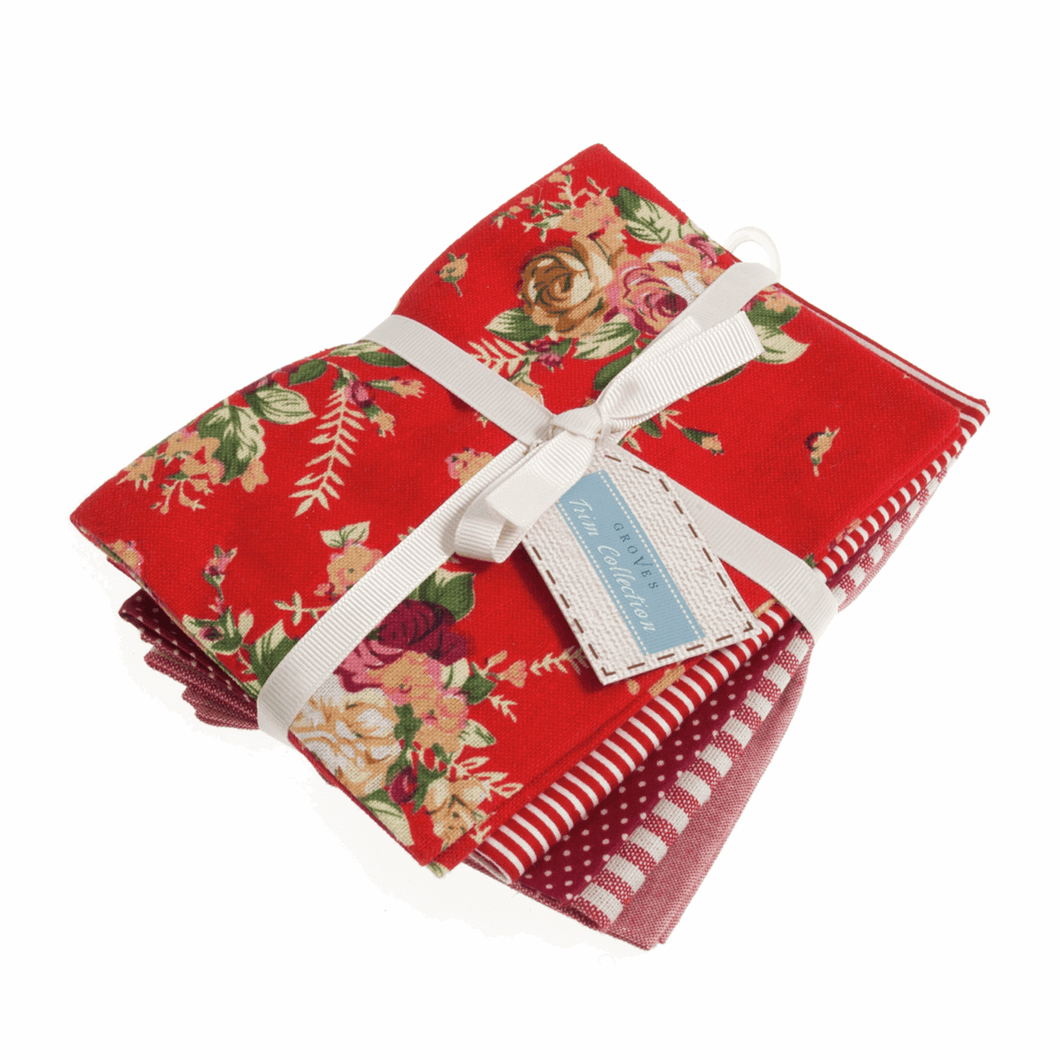 Cotton Polyester Ruby Red Stripe, Polkadot and Floral Fabrics Fat Quarter Bundle 5 Pack.