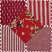 Load image into Gallery viewer, Cotton Polyester Ruby Red Stripe, Polkadot and Floral Fabrics Fat Quarter Bundle 5 Pack.