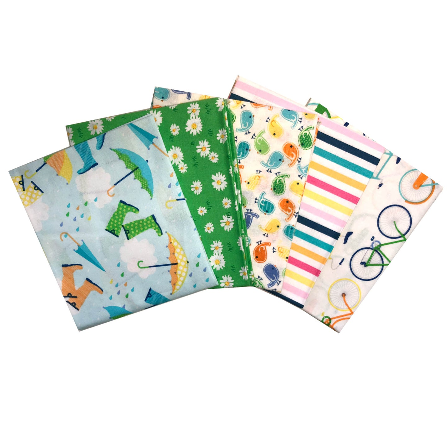 Spring wellies umbrellas fat quarter bundle of 5. 100% cotton fabric.