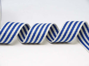 Bertie's bows 38mm striped, rainbow bag strapping/webbing: various colours. Per metre.