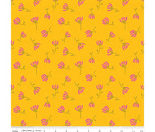 Load image into Gallery viewer, Sweet Honey Kisses: Cosmos Yellow Sparkle cotton fabrics: by the fat quarter. Riley Blake. Floral fabric.