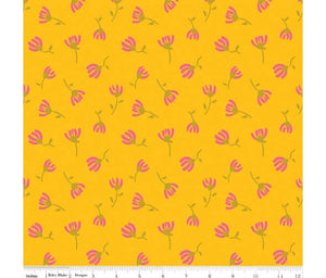 Sweet Honey Kisses: Cosmos Yellow Sparkle cotton fabrics: by the fat quarter. Riley Blake. Floral fabric.