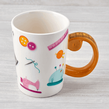 Load image into Gallery viewer, Tape Measure Handle Novelty Haberdashers Mug Sewing Cup Drink Gift