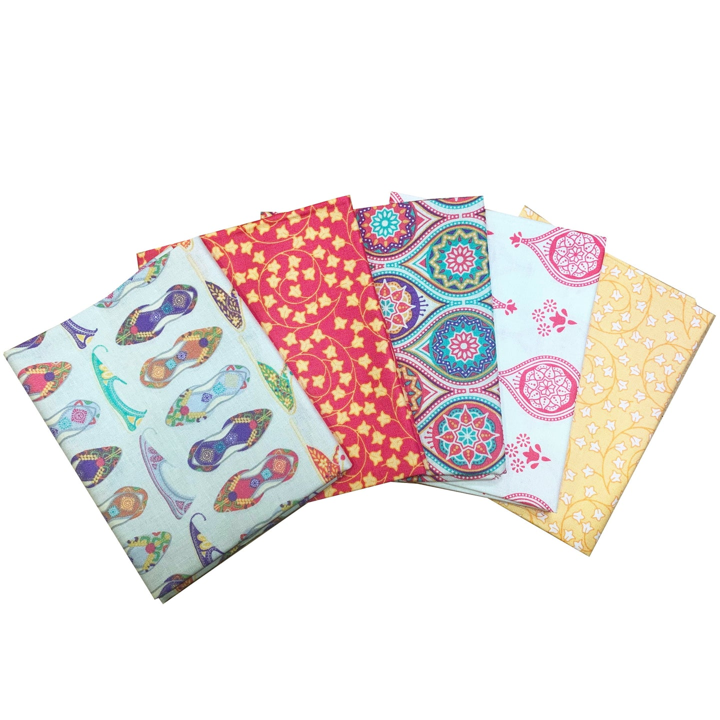New Delhi Shoes Fat Quarters pack of 5 craft cotton fabrics: designed by Debbie Shore.