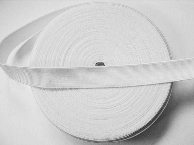 Waist Band Woven Fabric - White 25 mm /32 mm/38 mm wide for waistbands, pyjamas and cuffs. By the metre.