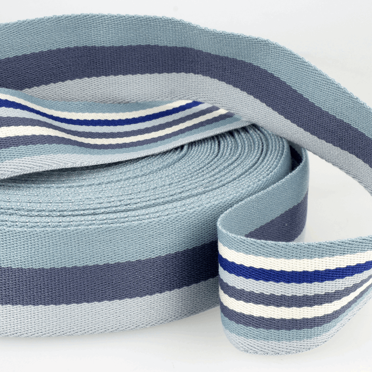 Webbing Double-Sided Stripes: 40mm wide bag strapping. Various colours. Per metre.