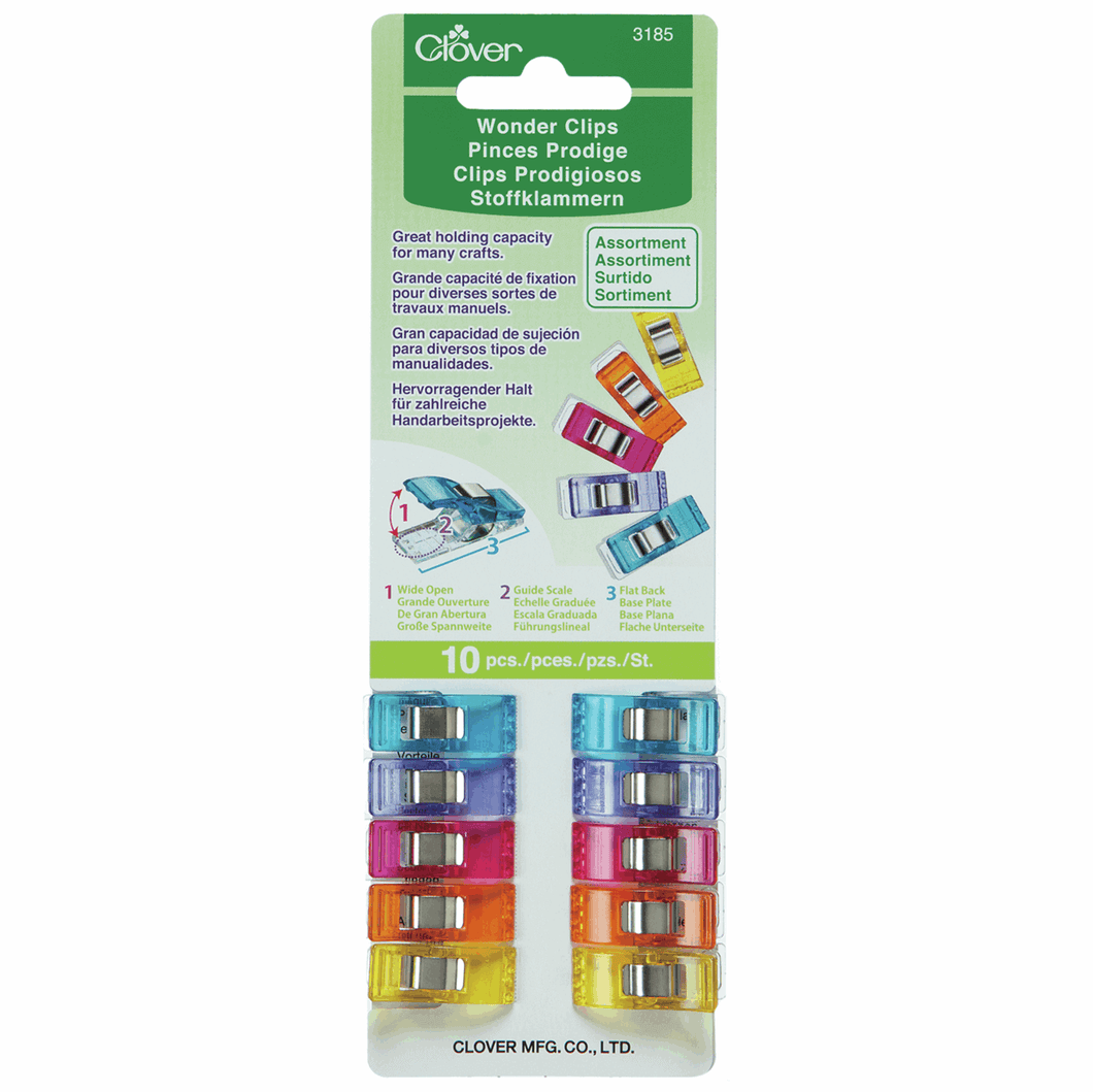 Wonder Clips Assortment by Clover (Pack of 10) for sewing, overlocking and crafting.
