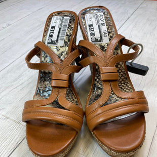 Primary Photo - BRAND: GIANNI BINI STYLE: SANDALS HIGH COLOR: TAN SIZE: 7.5 SKU: 283-283145-280- LITTLE DARK MARKS ON WEDGE PART, WAS PRICED BASED ON THE MARKS.