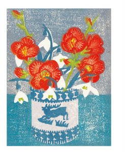 Card - Japonica and Snowdrops by Matt Underwood