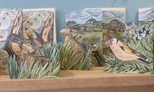 Load image into Gallery viewer, Card - Hares and open field - die-cut 3D by Angela Harding
