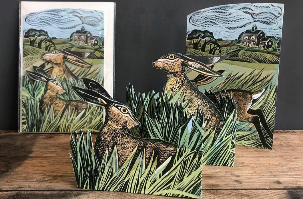 Card - Hares and open field - die-cut 3D by Angela Harding