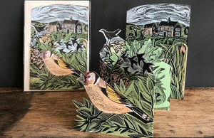 Card - Garden Birds - die-cut 3D by Angela Harding