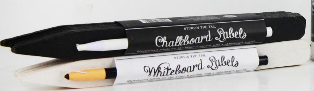 White Plant Labels with Black Chinagraph Pencil