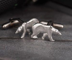 Pewter Cufflinks by Lancaster & Gibbings (Polar Bear)