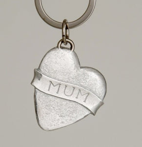 Pewter Key Ring by Lancaster & Gibbings   (Heart/Mum)