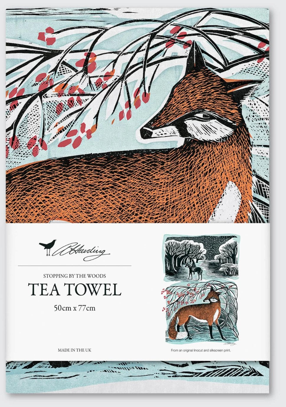 Angela Harding Tea Towel (Stopping By The Woods - Fox)