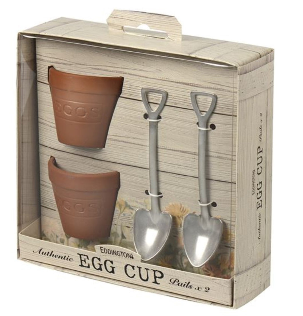 Flower Pot Set of 2 Egg Cups & Spoons